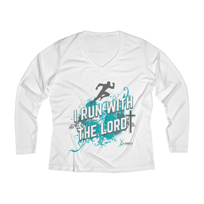 I Run With the Lord Women's Long Sleeve Tech Shirt Long-sleeve Printify White L