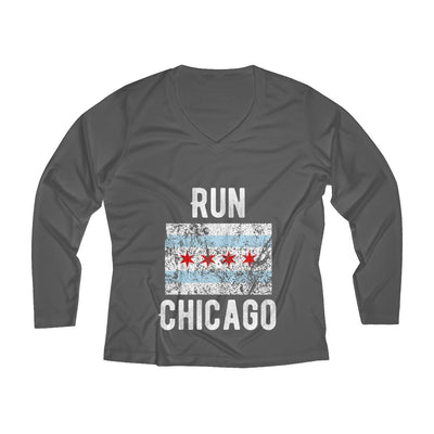 Run Chicago Women's Long Sleeve Tech Shirt Long-sleeve Printify Sport Tek Iron Grey XS