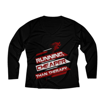 Running, Cheaper Than Therapy Women's Long Sleeve Tech Shirt Long-sleeve Printify Black XS