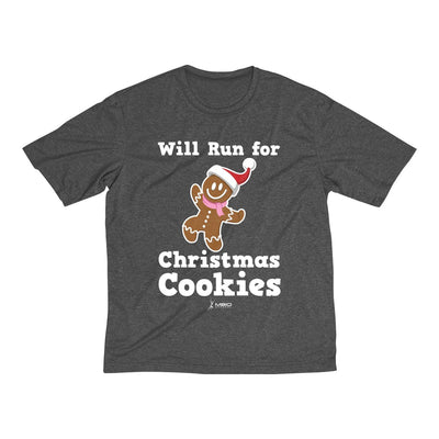Will Run for Christmas Cookies Men's Short Sleeve Tech Shirt T-Shirt Printify Sport-Tek Graphite Heather L