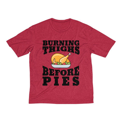 Burning Thighs Before Pies Men's Short Sleeve Tech Shirt T-Shirt Printify Sport-Tek Scarlet Heather XS