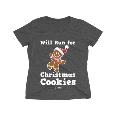 Will Run for Christmas Cookies Women's Short Sleeve Tech Shirt T-Shirt Printify Sport-Tek Graphite Heather XS
