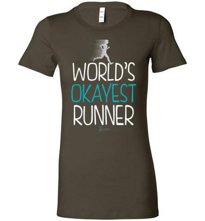 World's Okayest Runner Ladies T-Shirt T-Shirt Mbio Apparel Bella Army S