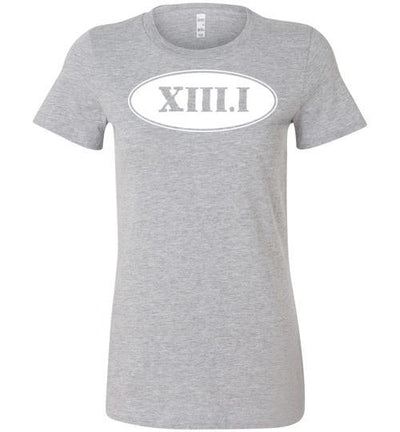 Half Marathon Roman Numeral Oval Ladies T-Shirt T-Shirt Mbio Apparel Bella Athletic Heather S