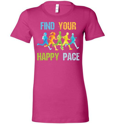 Find Your Happy Pace Ladies T-Shirt T-Shirt Mbio Apparel Bella Berry S