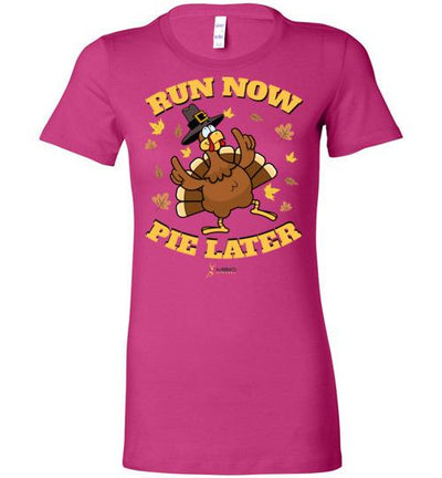 Run Now Pie Later Ladies T-Shirt T-Shirt Mbio Apparel Bella Berry S