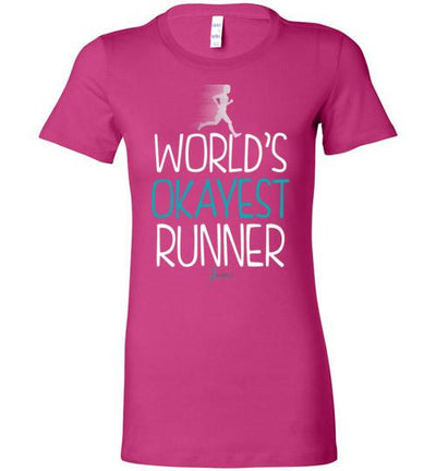 World's Okayest Runner Ladies T-Shirt T-Shirt Mbio Apparel Bella Berry S