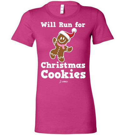 Will Run for Christmas Cookies Ladies T-Shirt T-Shirt Mbio Apparel Bella Berry S