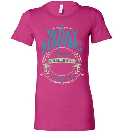 Ladies 30 Day Running Challenge T-Shirt T-Shirt Mbio Apparel Bella Berry S