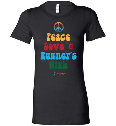Peace, Love, and Runner's High Ladies T-Shirt T-Shirt Mbio Apparel Black S