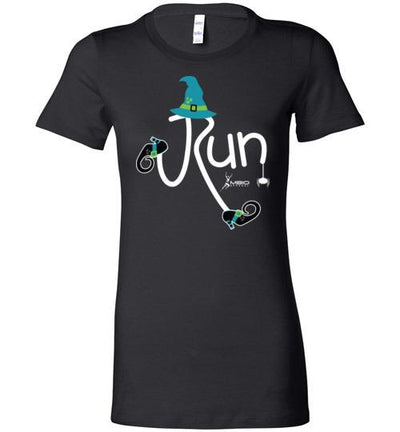 Running Witch Halloween Ladies T-Shirt T-Shirt Mbio Apparel Bella Black S