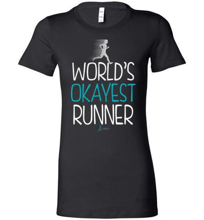 World's Okayest Runner Ladies T-Shirt T-Shirt Mbio Apparel Bella Black S