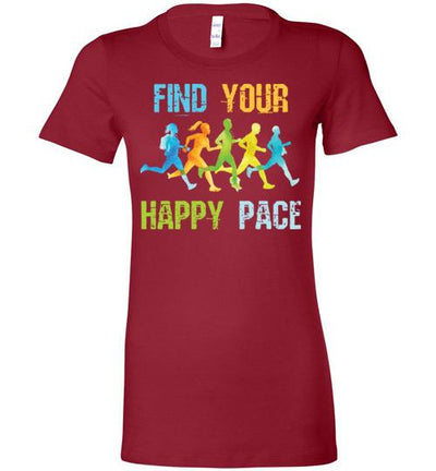 Find Your Happy Pace Ladies T-Shirt T-Shirt Mbio Apparel Bella Cardinal S