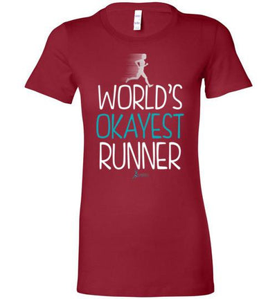 World's Okayest Runner Ladies T-Shirt T-Shirt Mbio Apparel Bella Cardinal S