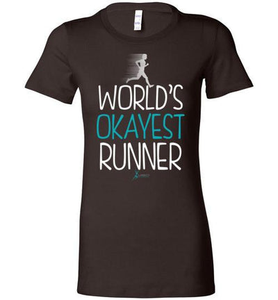 World's Okayest Runner Ladies T-Shirt T-Shirt Mbio Apparel Bella Chocolate S