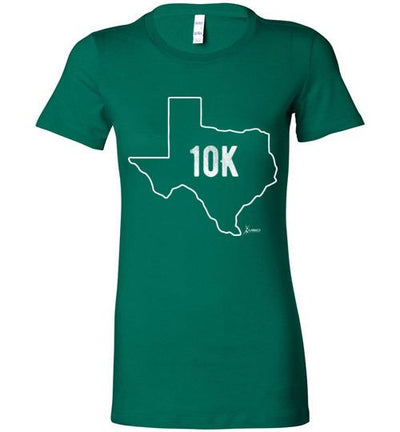Texas Outline 10K Ladies T-Shirt T-Shirt Mbio Apparel Bella Kelly S