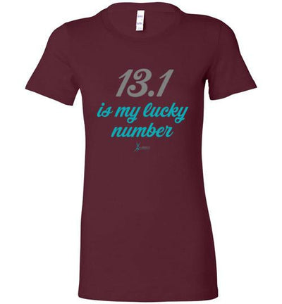 13.1 Is My Lucky Number Ladies T-Shirt T-Shirt Mbio Apparel Bella Maroon S