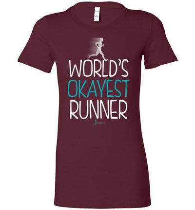 World's Okayest Runner Ladies T-Shirt T-Shirt Mbio Apparel Bella Maroon S