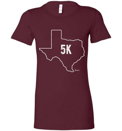 Texas Outline 5K Ladies T-Shirt T-Shirt Mbio Apparel Bella Maroon S