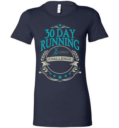 Ladies 30 Day Running Challenge T-Shirt T-Shirt Mbio Apparel Bella Navy S