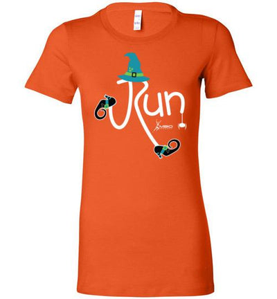 Running Witch Halloween Ladies T-Shirt T-Shirt Mbio Apparel Bella Orange S