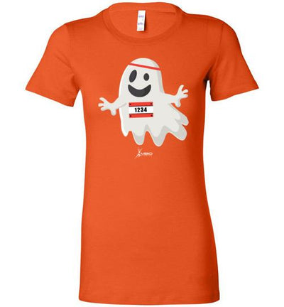Happy Ghost Runner Halloween Ladies T-Shirt