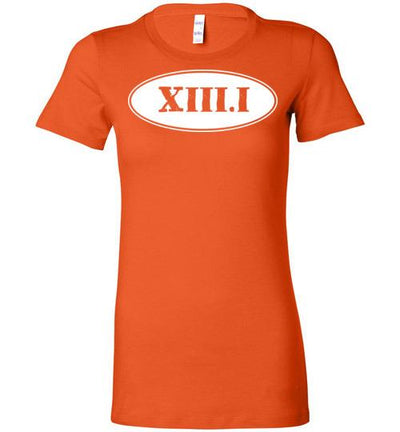 Half Marathon Roman Numeral Oval Ladies T-Shirt T-Shirt Mbio Apparel Bella Orange S