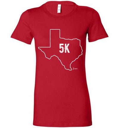 Texas Outline 5K Ladies T-Shirt T-Shirt Mbio Apparel Bella Red S