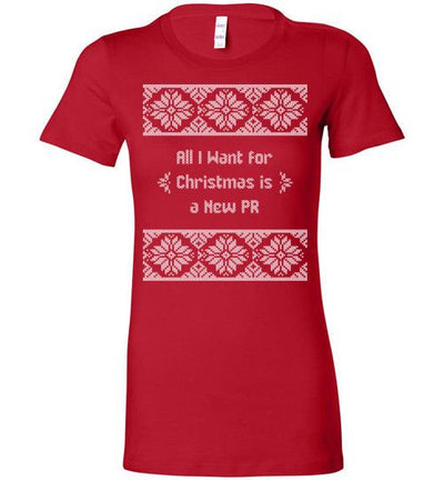 All I Want for Christmas Ladies T-Shirt T-Shirt Mbio Apparel Bella Red S
