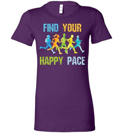 Find Your Happy Pace Ladies T-Shirt T-Shirt Mbio Apparel Bella Team Purple S