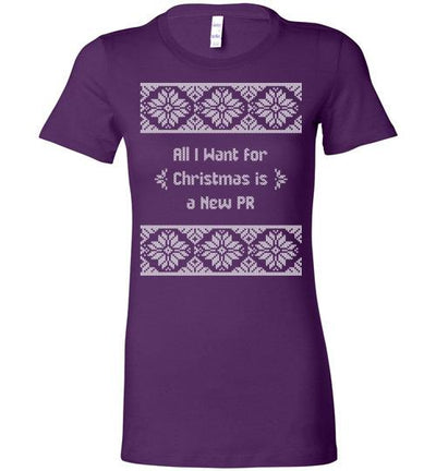 All I Want for Christmas Ladies T-Shirt T-Shirt Mbio Apparel Bella Team Purple S