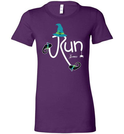 Running Witch Halloween Ladies T-Shirt T-Shirt Mbio Apparel Bella Team Purple S