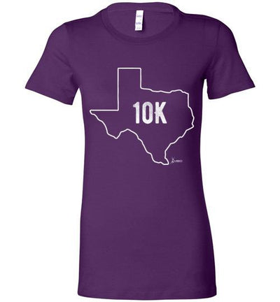 Texas Outline 10K Ladies T-Shirt T-Shirt Mbio Apparel Bella Team Purple S