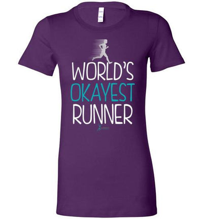 World's Okayest Runner Ladies T-Shirt T-Shirt Mbio Apparel Bella Team Purple S