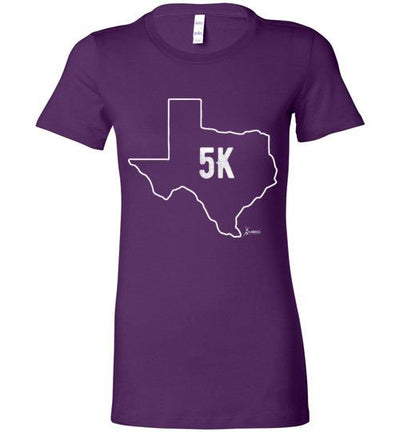Texas Outline 5K Ladies T-Shirt T-Shirt Mbio Apparel Bella Team Purple S