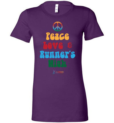 Peace, Love, and Runner's High Ladies T-Shirt T-Shirt Mbio Apparel Bella Team Purple S