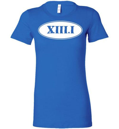 Half Marathon Roman Numeral Oval Ladies T-Shirt T-Shirt Mbio Apparel Bella True Royal S