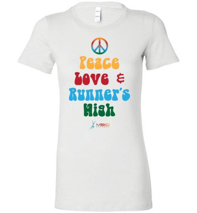 Peace, Love, and Runner's High Ladies T-Shirt T-Shirt Mbio Apparel White S