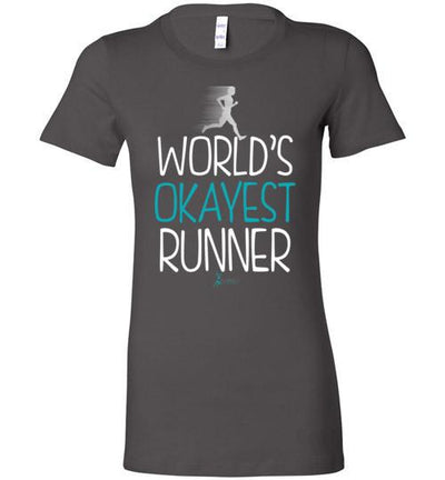 World's Okayest Runner Ladies T-Shirt T-Shirt Mbio Apparel Bella Asphalt S