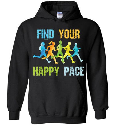 Find Your Happy Pace Hoodie T-Shirt Mbio Apparel Gildan Black S