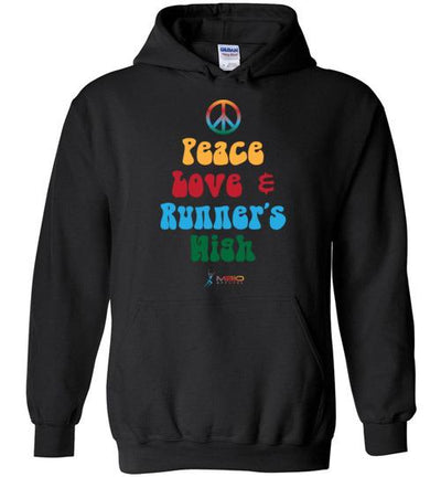 Peace, Love, and Runner's High Hoodie T-Shirt Mbio Apparel Black S