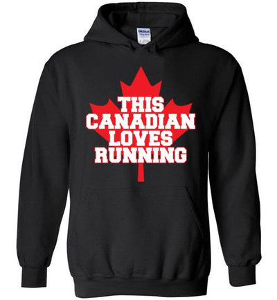 This Canadian Loves Running Hoodie T-Shirt Mbio Apparel Gildan Black S
