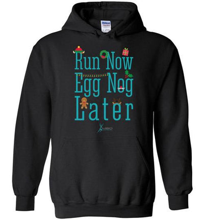 Run Now Eggnog Later Hoodie T-Shirt Mbio Apparel Black S