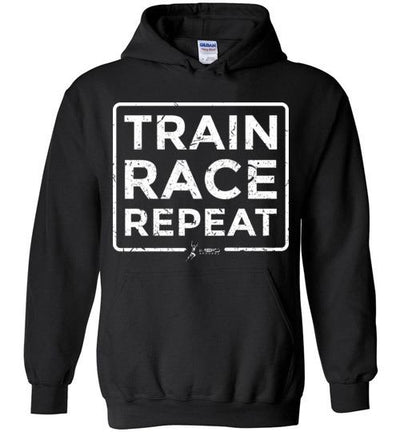 Train Race Repeat Hoodie T-Shirt Mbio Apparel Gildan Black S