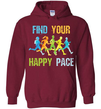 Find Your Happy Pace Hoodie T-Shirt Mbio Apparel Gildan Cardinal Red S