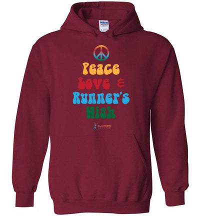Peace, Love, and Runner's High Hoodie T-Shirt Mbio Apparel Gildan Cardinal Red S