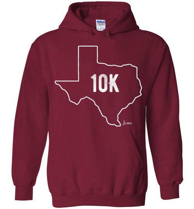 Texas Outline 10K Hoodie T-Shirt Mbio Apparel Gildan Cardinal Red S