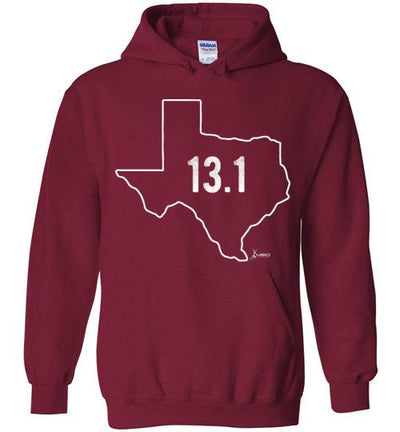 Texas Outline Half-Marathon Hoodie T-Shirt Mbio Apparel Gildan Cardinal Red S