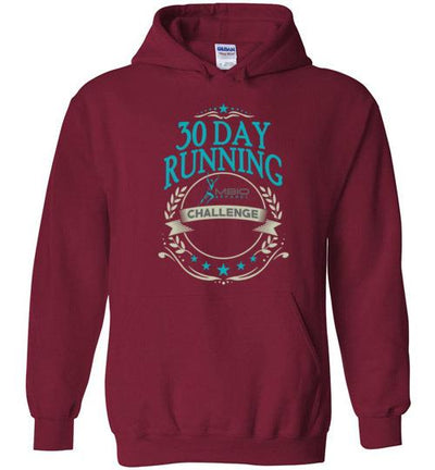 30 Day Running Challenge Hoodie T-Shirt Mbio Apparel Gildan Cardinal Red S