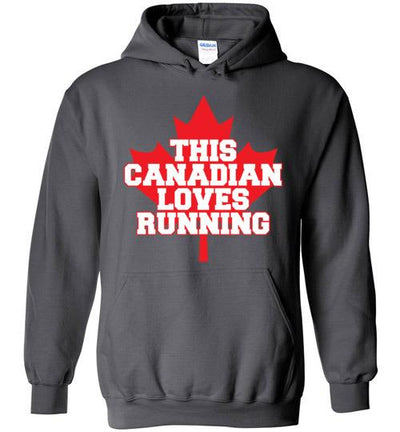 This Canadian Loves Running Hoodie T-Shirt Mbio Apparel Gildan Charcoal S